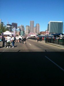 finish line. you can't tell but there were thousands of people here